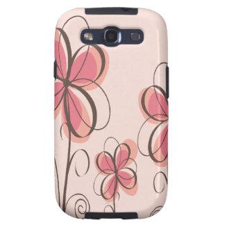 Pink & Brown Doodle Flowers Design Samsung Galaxy SIII Case