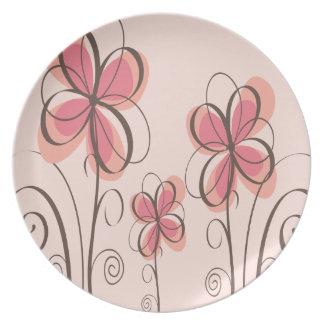 Pink & Brown Doodle Flowers Design Dinner Plate