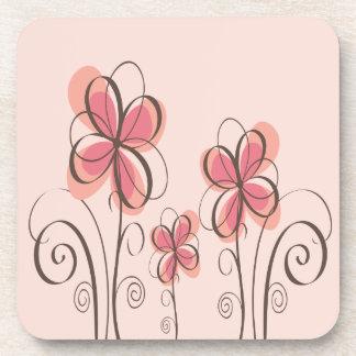 Pink & Brown Doodle Flowers Design Drink Coaster