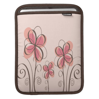 Pink & Brown Doodle Flowers Design Sleeves For iPads
