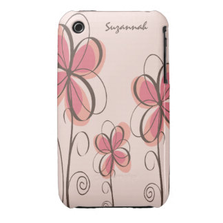 Pink & Brown Doodle Flowers Design iPhone 3 Covers