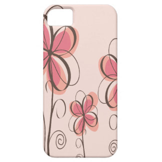 Pink & Brown Doodle Flowers Design iPhone 5 Case