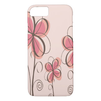 Pink & Brown Doodle Flowers Design iPhone 7 Case