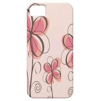 Pink & Brown Doodle Flowers Design iPhone SE/5/5s Case