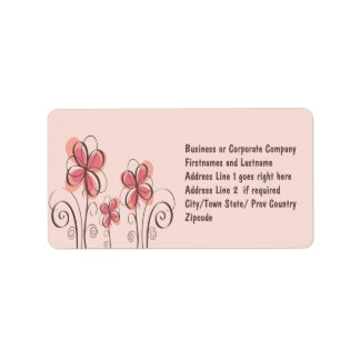 Pink & Brown Doodle Flowers Design Label