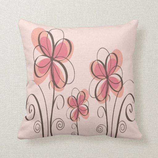 Pink & Brown Doodle Flowers Design Pillow