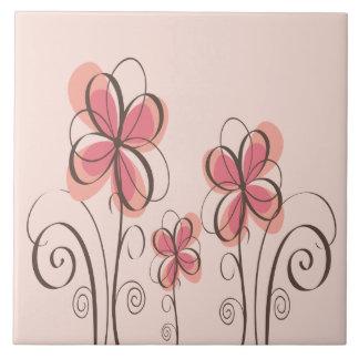 Pink & Brown Doodle Flowers Design Tile