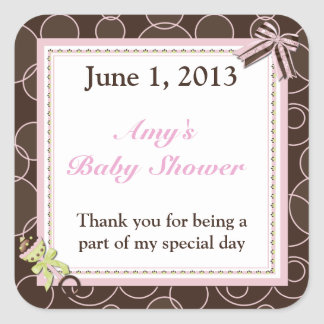 Pink Brown Dot Baby Shower Thank You Stickers