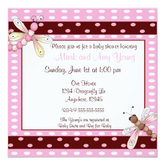 Pink brown dot dragonfly baby shower invitation