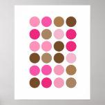 Pink & Brown Dots Modern Art Pattern Abstract Poster