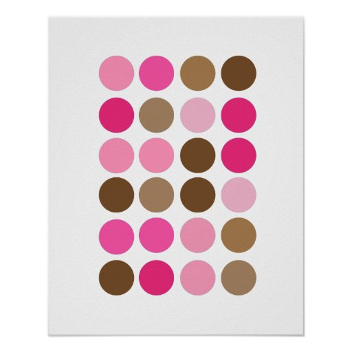 Pink & Brown Dots Modern Art Pattern Abstract Poster