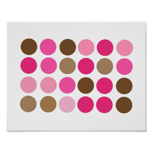 Pink & Brown Dots Modern Pattern Abstract Poster