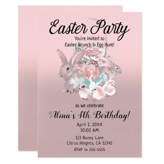 Pink brown easter egg hunt spring birthday party invitation zazzle pink brown easter egg hunt spring birthday party invitation filmwisefo