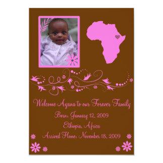 Pink/Brown Ethiopian Adoption Announcement Card