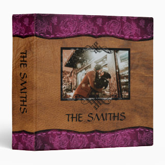 Pink+Brown Faux Leather Family Scrapbook Album Binder