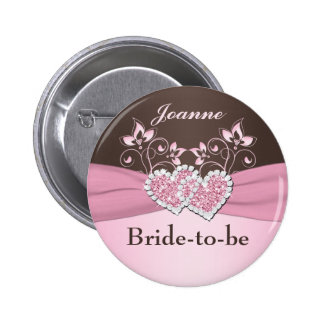 Pink, Brown Floral Bride-to-be Pin