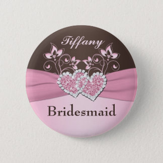 Pink, Brown Floral Bridesmaid Pin