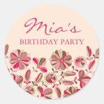 Pink & Brown Floral Burst Sticker