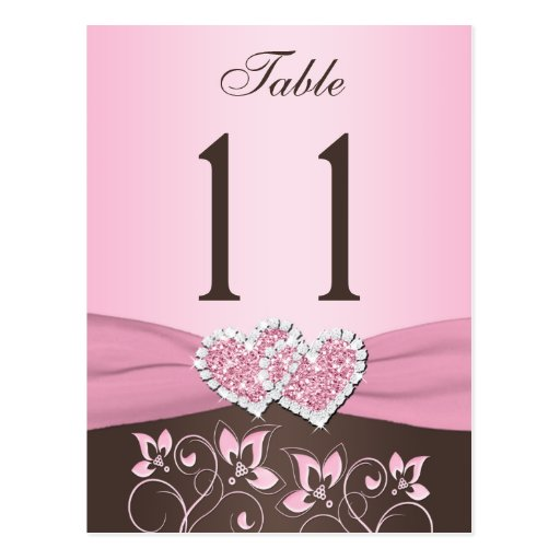 Pink, Brown Floral, Hearts Table Number Post Card