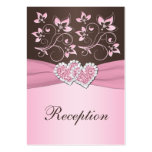Pink, Brown Floral Joined Hearts Enclosure Card Business Cards