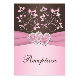 Pink, Brown Floral Joined Hearts Enclosure Card Large Business Card