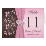 Pink, Brown Floral Joined Hearts Table Number Card