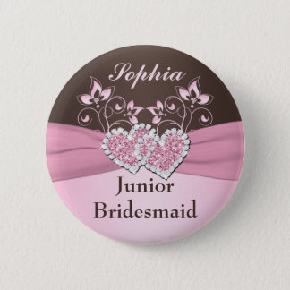 Pink, Brown Floral Junior Bridesmaid Pin