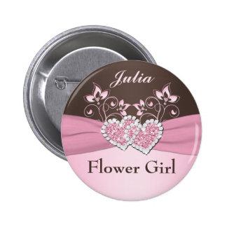Pink, Brown Floral Junior Flower Girl Pin