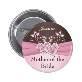 Pink, Brown Floral Mother of the Bride Pin