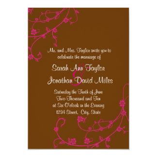Pink & Brown Floral Swirl Wedding Invitation