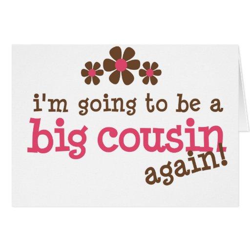 Pink/Brown Flower Big Cousin T-shirt Cards