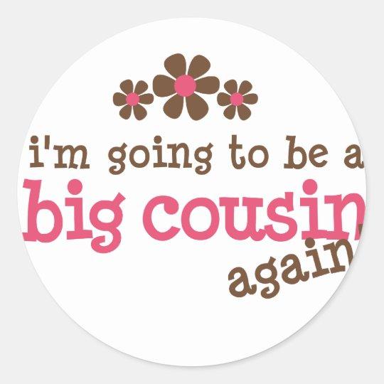 Pink/Brown Flower Big Cousin T-shirt Classic Round Sticker