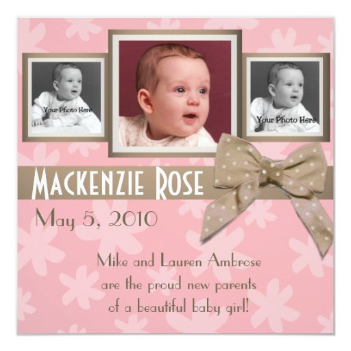 """Pink & Brown Flower photo Announcement 5.25"""" Square Invitation Card"""