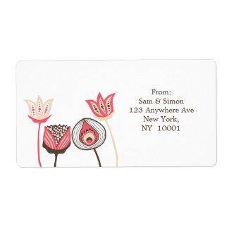 Pink Brown Funky Flowers Return Address Label