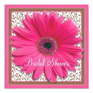 Pink Brown Gerbera Daisy Bridal Shower Invitation