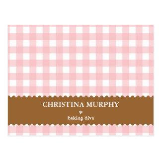Pink brown gingham lined custom name recipe card