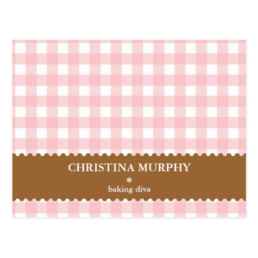 Pink brown gingham lined custom name recipe card postcards