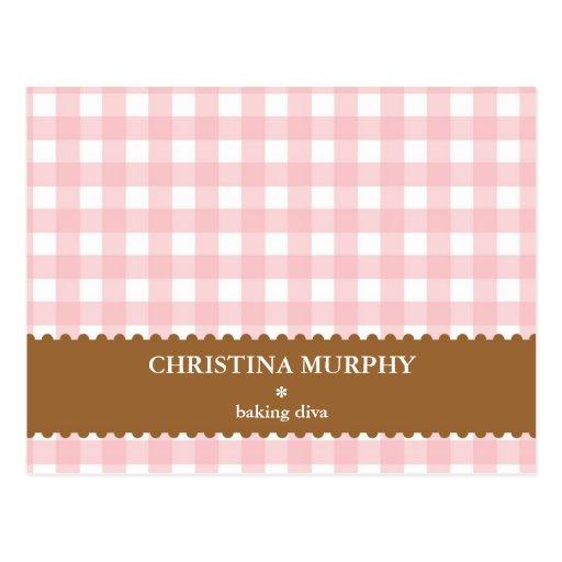 Pink brown gingham lined custom name recipe card postcard