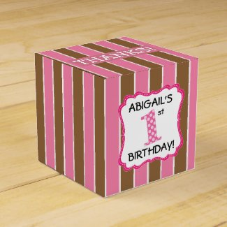 Pink & Brown Girl's 1st Birthday Personalized Favor Box