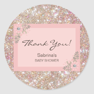 Pink, Brown, Glitter Baby Shower - Girls Classic Round Sticker
