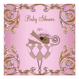 Pink Brown Gold Lace Baby Girl Shower Invtations Card