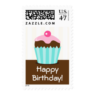 Pink brown happy birthday cupcake postage stamp