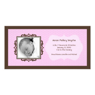 Pink Brown Honeycomb New Baby Photo Cards