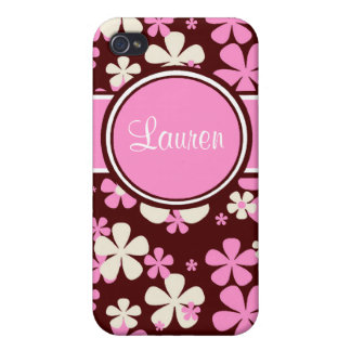 Pink Brown iPhone 4 4S Personalized Phone Case iPhone 4/4S Covers