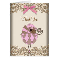 Pink Brown Lace Baby Shower Thank You Cards
