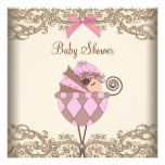 Pink Brown Lace Girl Baby Shower Personalized Announcement