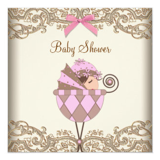 Pink Brown Lace Girl Baby Shower Invitation