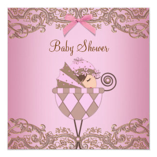 "Pink Brown Lace Girl Baby Shower Invitations 5.25"" Square Invitation Card"