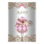 Pink Brown Lace Girl Baby Shower RSVP Custom Invitation