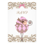 Pink Brown Lace Girl Baby Shower RSVP Custom Invitations